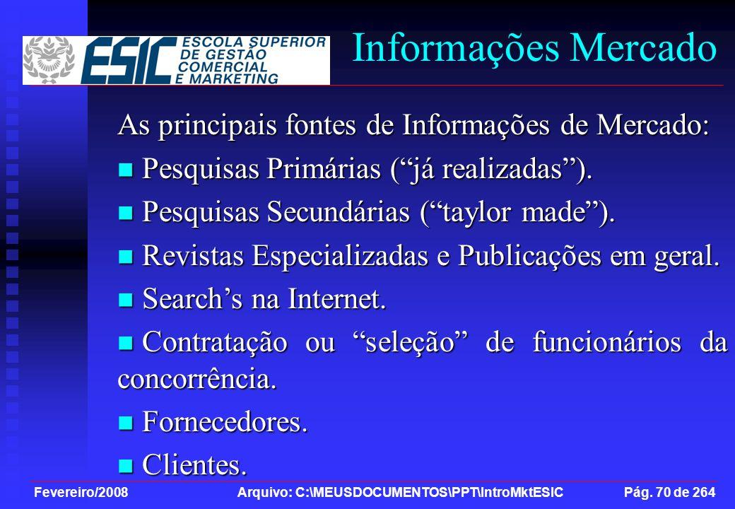Fevereiro/2008 Arquivo: C:\MEUSDOCUMENTOS\PPT\IntroMktESIC Pág. 70 de 264 Informações Mercado As principais fontes de Informações de Mercado: Pesquisa