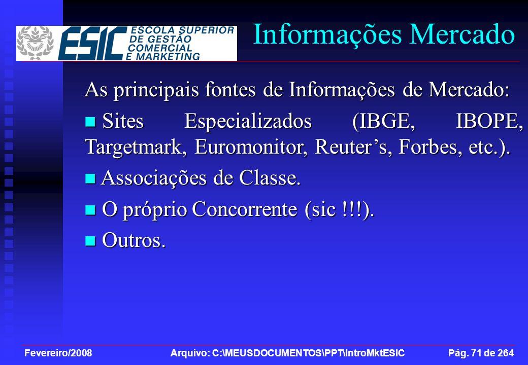 Fevereiro/2008 Arquivo: C:\MEUSDOCUMENTOS\PPT\IntroMktESIC Pág. 71 de 264 Informações Mercado As principais fontes de Informações de Mercado: Sites Es