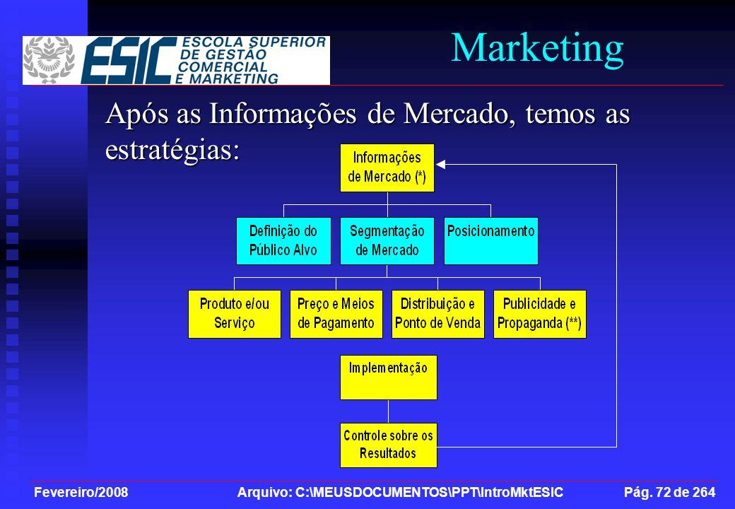Fevereiro/2008 Arquivo: C:\MEUSDOCUMENTOS\PPT\IntroMktESIC Pág. 72 de 264 Marketing Após as Informações de Mercado, temos as estratégias: