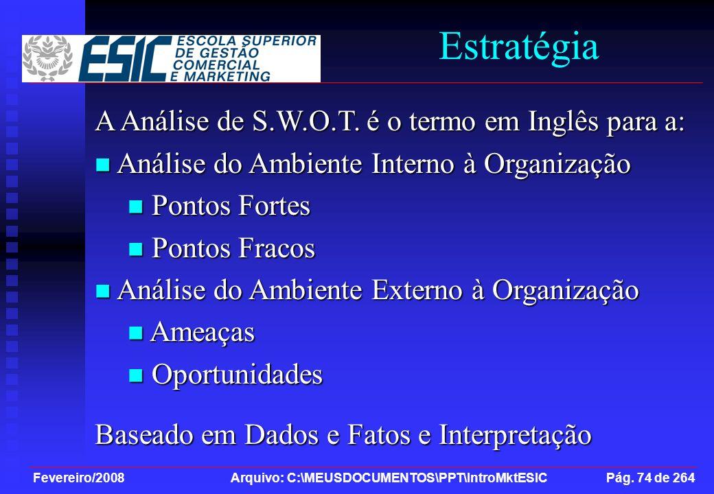 Fevereiro/2008 Arquivo: C:\MEUSDOCUMENTOS\PPT\IntroMktESIC Pág. 74 de 264 Estratégia A Análise de S.W.O.T. é o termo em Inglês para a: Análise do Ambi