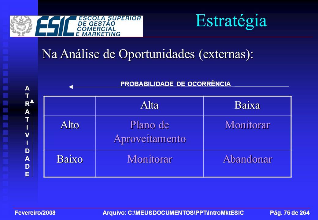 Fevereiro/2008 Arquivo: C:\MEUSDOCUMENTOS\PPT\IntroMktESIC Pág. 76 de 264 Estratégia Na Análise de Oportunidades (externas): AltaBaixa Alto Plano de A