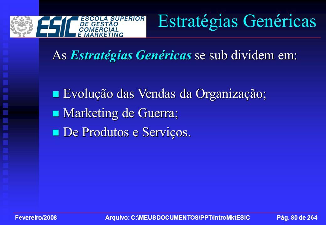 Fevereiro/2008 Arquivo: C:\MEUSDOCUMENTOS\PPT\IntroMktESIC Pág. 80 de 264 Estratégias Genéricas As Estratégias Genéricas se sub dividem em: Evolução d