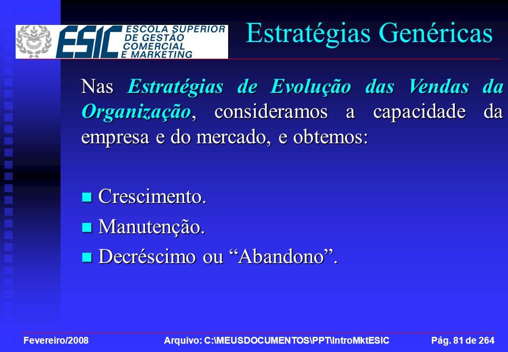 Fevereiro/2008 Arquivo: C:\MEUSDOCUMENTOS\PPT\IntroMktESIC Pág. 81 de 264 Estratégias Genéricas Nas Estratégias de Evolução das Vendas da Organização,