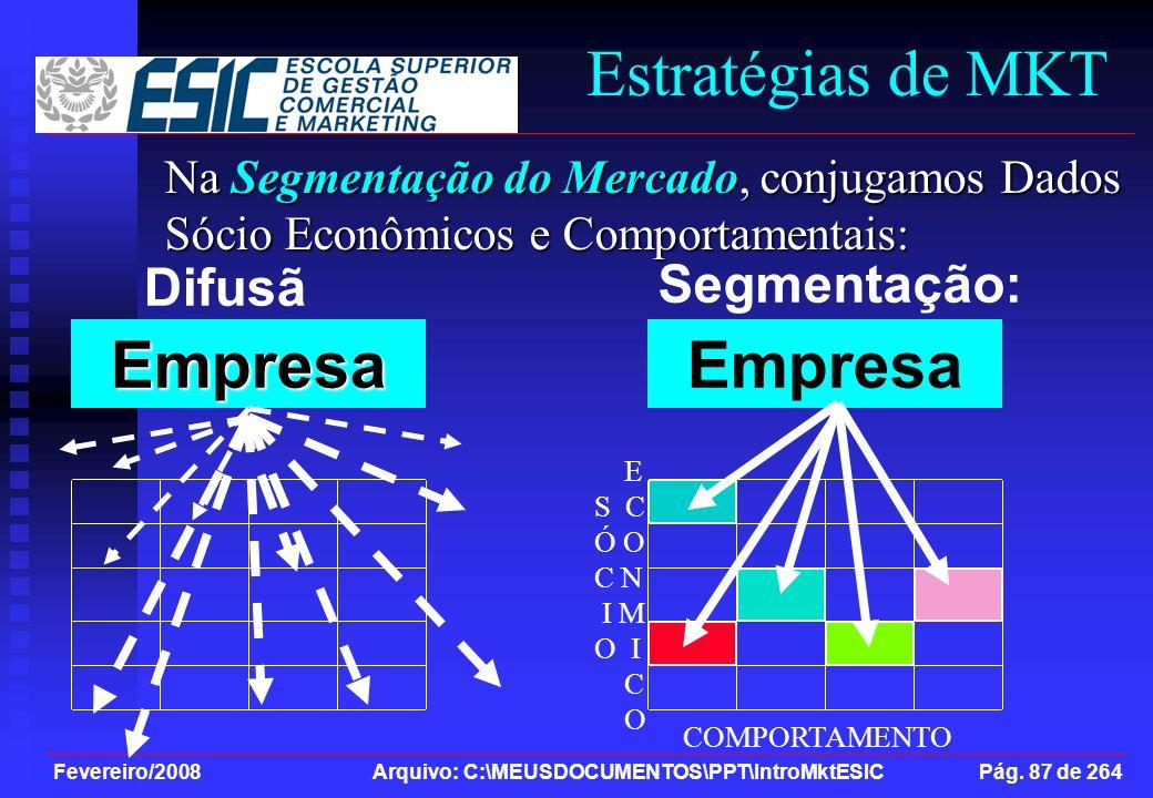 Fevereiro/2008 Arquivo: C:\MEUSDOCUMENTOS\PPT\IntroMktESIC Pág. 87 de 264 Difusã o: Estratégias de MKT Na Segmentação do Mercado, conjugamos Dados Sóc