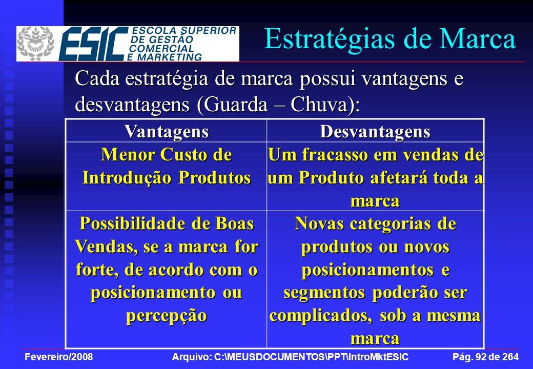 Fevereiro/2008 Arquivo: C:\MEUSDOCUMENTOS\PPT\IntroMktESIC Pág. 92 de 264 Cada estratégia de marca possui vantagens e desvantagens (Guarda – Chuva): V