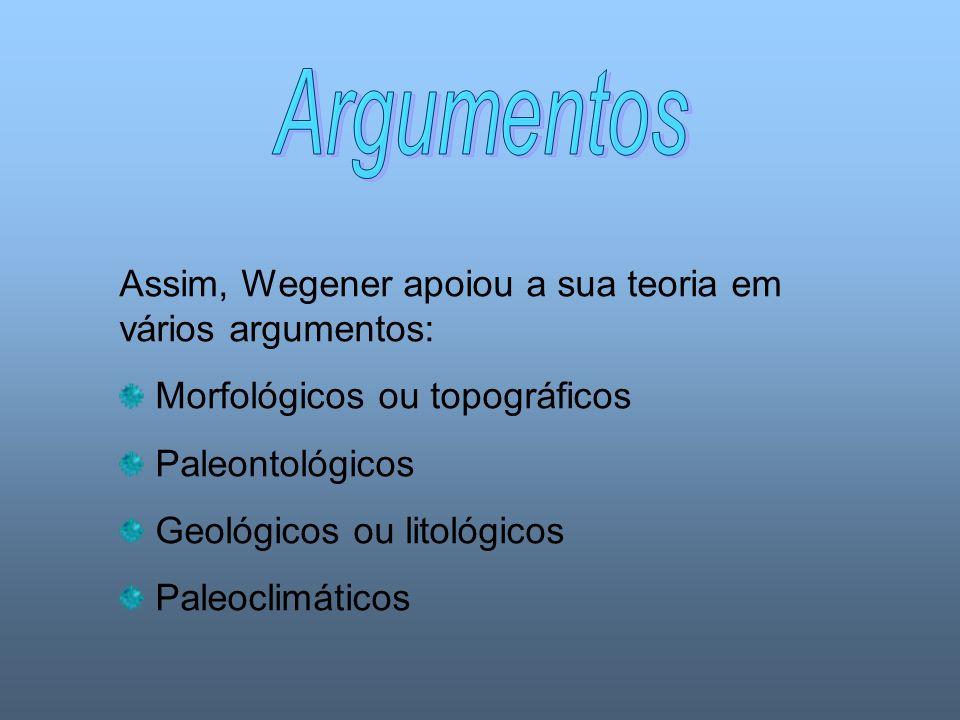 Assim, Wegener apoiou a sua teoria em vários argumentos: Morfológicos ou topográficos Paleontológicos Geológicos ou litológicos Paleoclimáticos