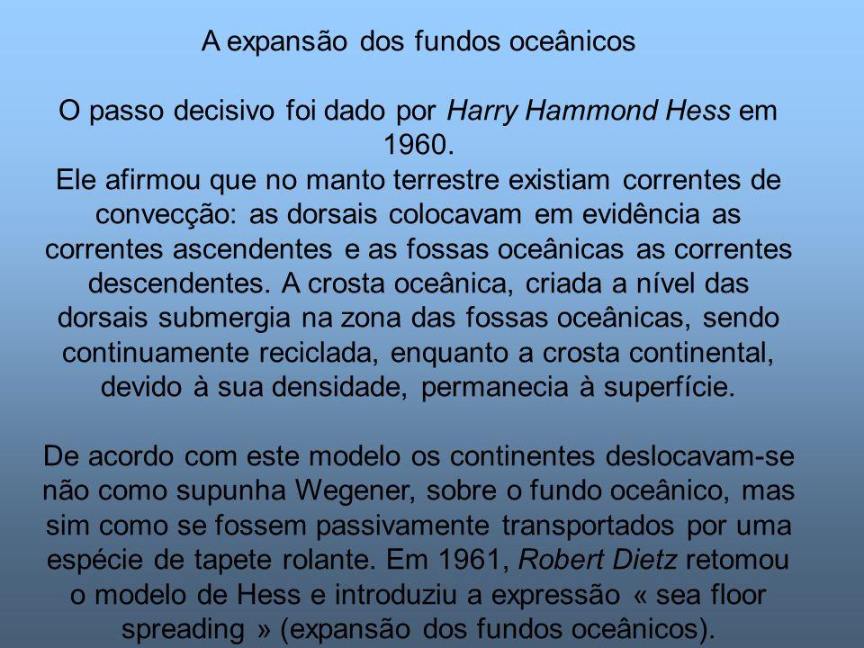 A expansão dos fundos oceânicos O passo decisivo foi dado por Harry Hammond Hess em 1960.