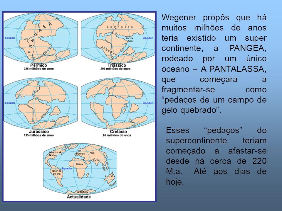 Wegener propôs que há muitos milhões de anos teria existido um super continente, a PANGEA, rodeado por um único oceano – A PANTALASSA, que começara a fragmentar-se como pedaços de um campo de gelo quebrado.