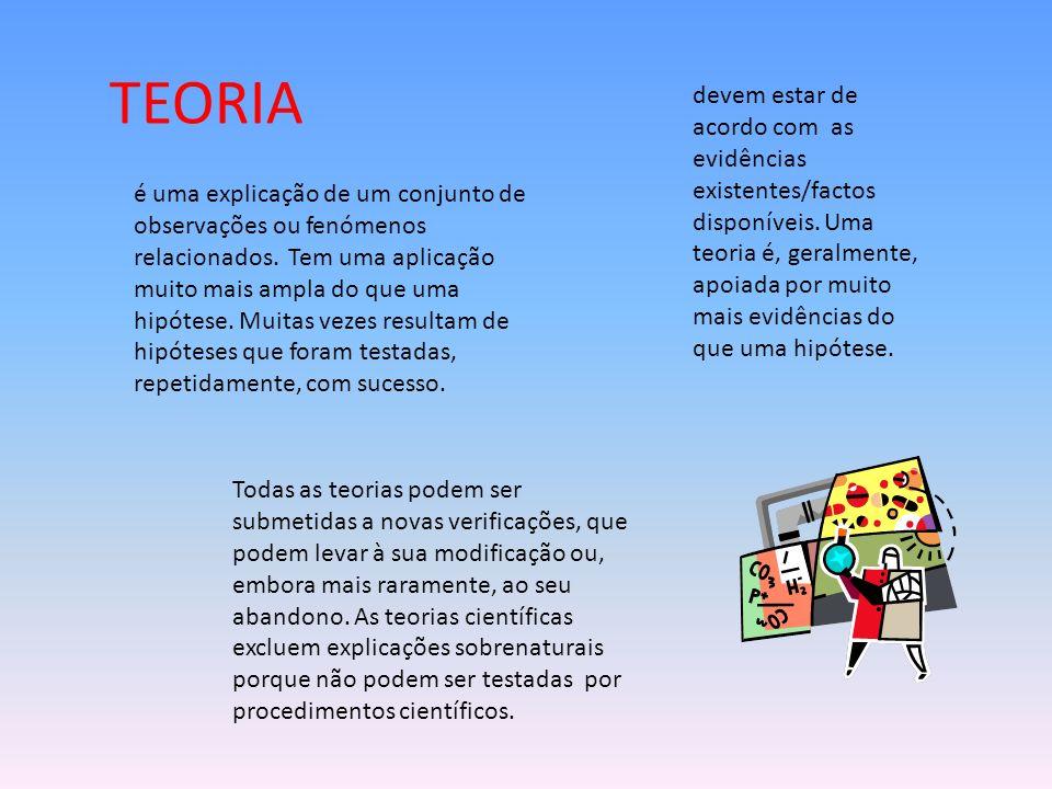 TEORIA é uma explicação de um conjunto de observações ou fenómenos relacionados.