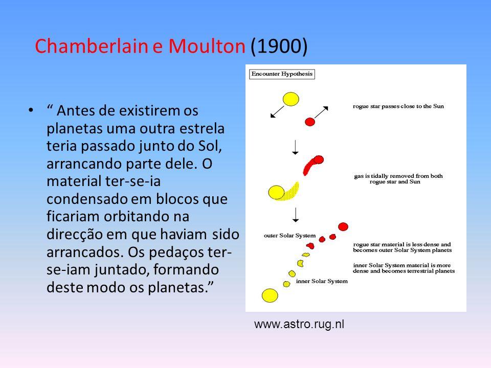 Chamberlain e Moulton (1900) Antes de existirem os planetas uma outra estrela teria passado junto do Sol, arrancando parte dele.