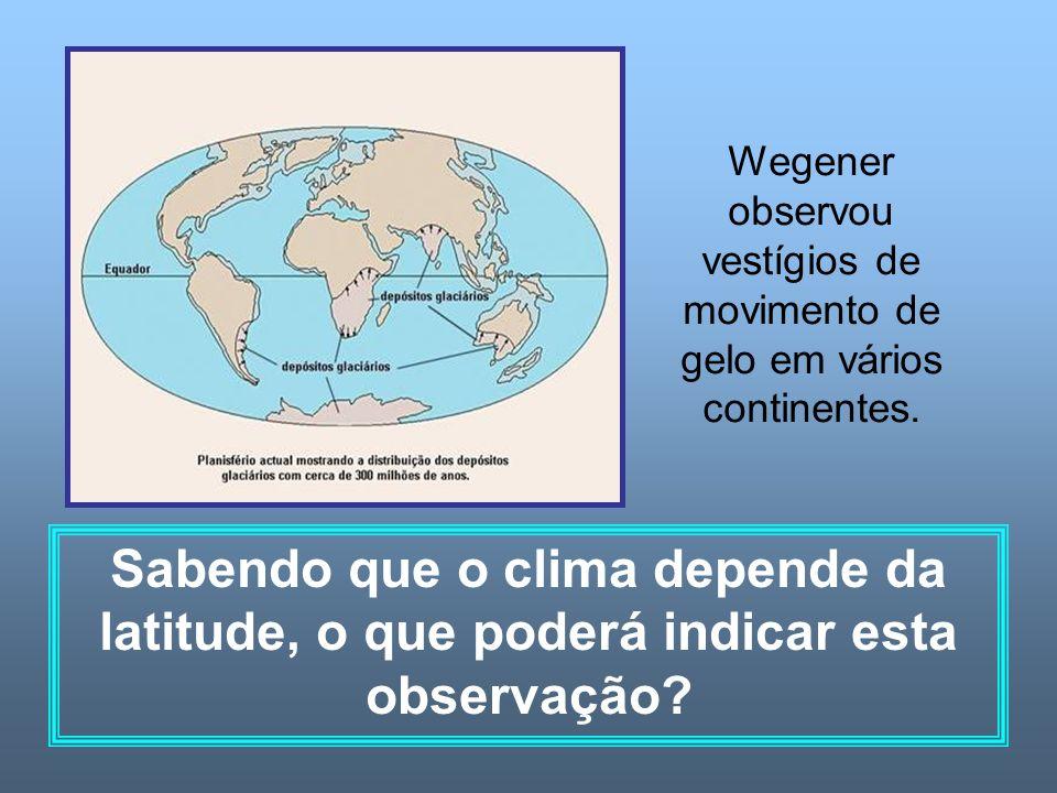 Wegener observou vestígios de movimento de gelo em vários continentes. Sabendo que o clima depende da latitude, o que poderá indicar esta observação?