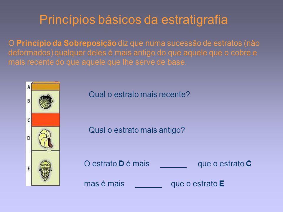 Princípios básicos da estratigrafia O Princípio da Sobreposição diz que numa sucessão de estratos (não deformados) qualquer deles é mais antigo do que aquele que o cobre e mais recente do que aquele que lhe serve de base.