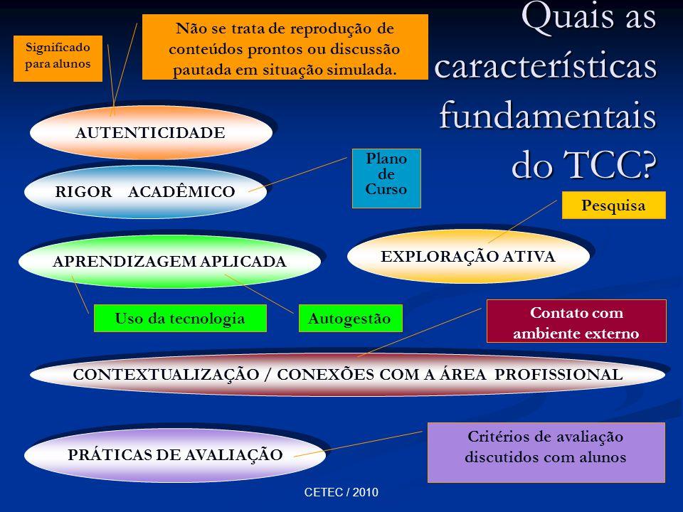 CETEC / 2010 Quais as características fundamentais do TCC? AUTENTICIDADE RIGOR ACADÊMICO APRENDIZAGEM APLICADA EXPLORAÇÃO ATIVA CONTEXTUALIZAÇÃO / CON