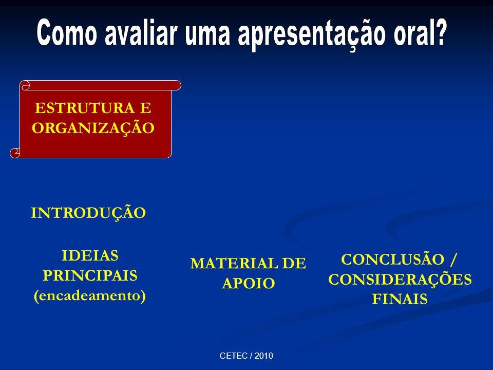 CETEC / 2010 INTRODUÇÃO IDEIAS PRINCIPAIS (encadeamento) MATERIAL DE APOIO CONCLUSÃO / CONSIDERAÇÕES FINAIS ESTRUTURA E ORGANIZAÇÃO