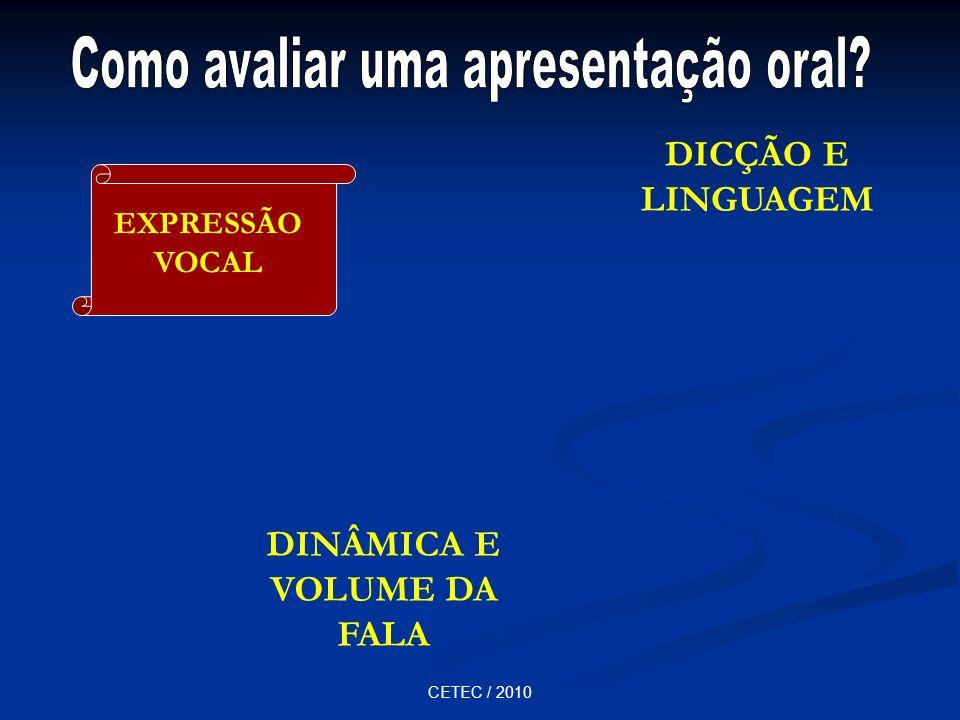 CETEC / 2010 DINÂMICA E VOLUME DA FALA DICÇÃO E LINGUAGEM EXPRESSÃO VOCAL