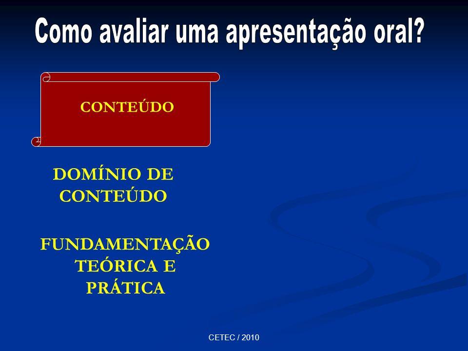 CETEC / 2010 DOMÍNIO DE CONTEÚDO FUNDAMENTAÇÃO TEÓRICA E PRÁTICA CONTEÚDO