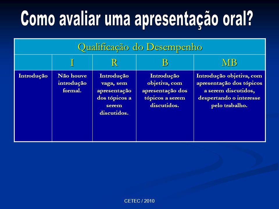 CETEC / 2010 Qualificação do Desempenho IRBMB Introdução Não houve introdução formal. Introdução vaga, sem apresentação dos tópicos a serem discutidos