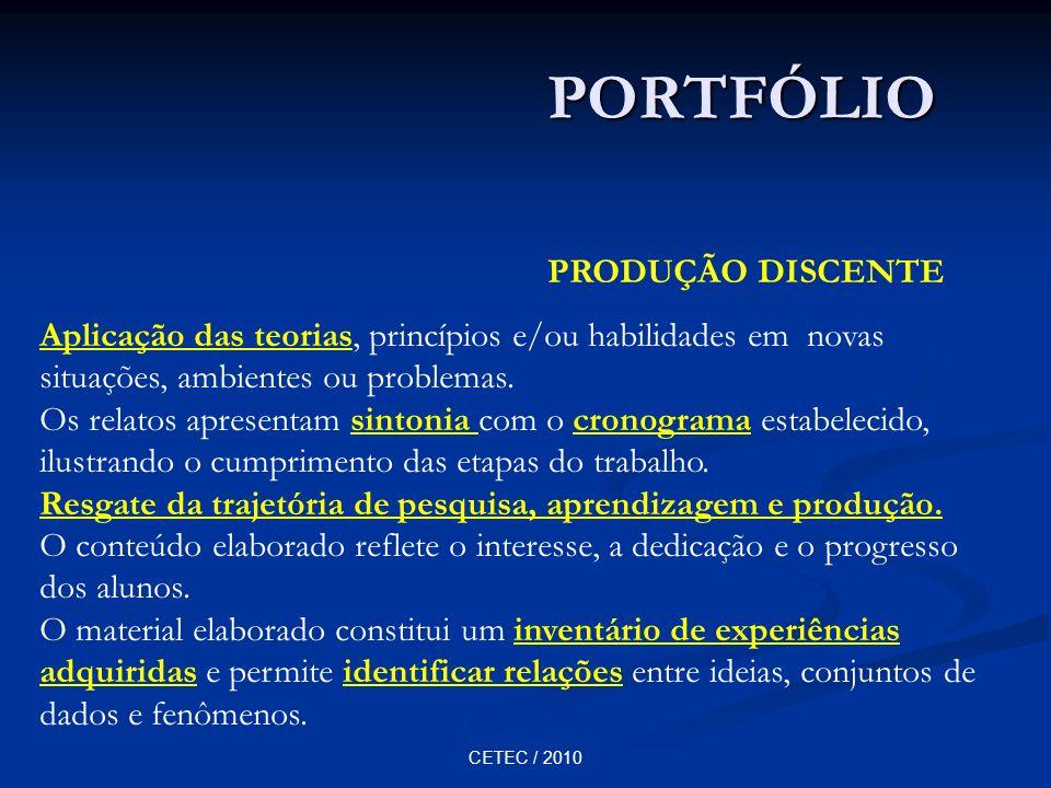 CETEC / 2010 PORTFÓLIO PORTFÓLIO PRODUÇÃO DISCENTE Aplicação das teorias, princípios e/ou habilidades em novas situações, ambientes ou problemas. Os r