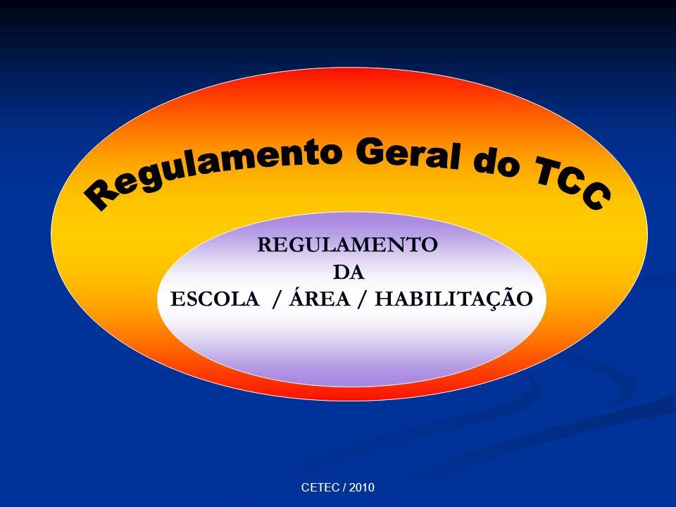 CETEC / 2010 REGULAMENTO DA ESCOLA / ÁREA / HABILITAÇÃO
