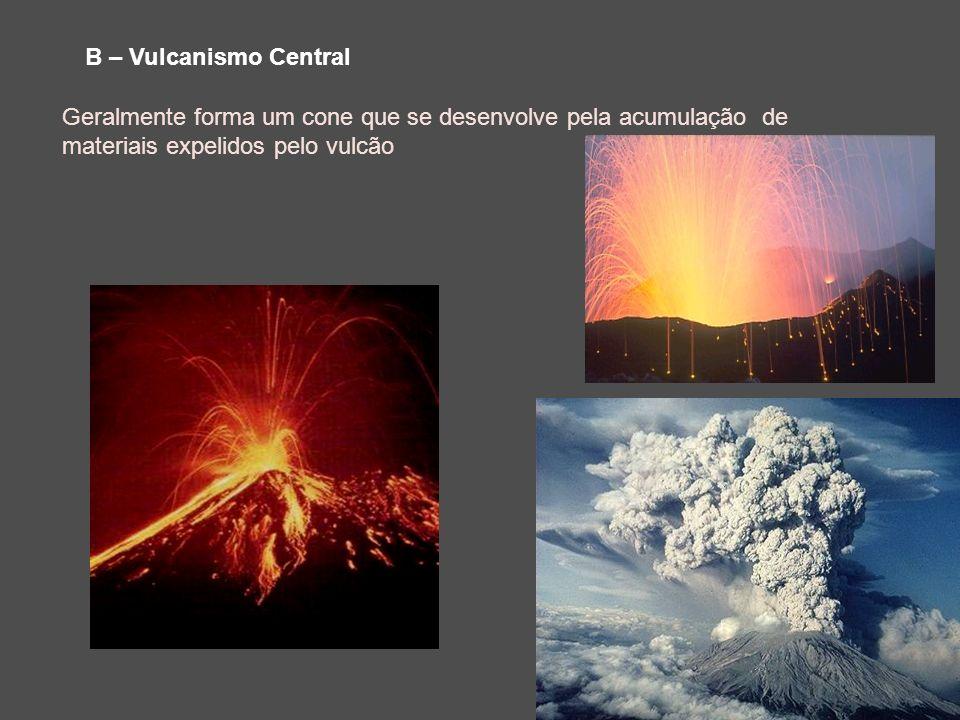 B – Vulcanismo Central Geralmente forma um cone que se desenvolve pela acumulação de materiais expelidos pelo vulcão