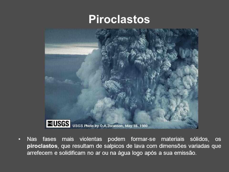 Piroclastos Nas fases mais violentas podem formar-se materiais sólidos, os piroclastos, que resultam de salpicos de lava com dimensões variadas que ar