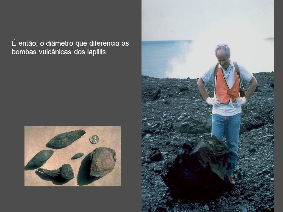 É então, o diâmetro que diferencia as bombas vulcânicas dos lapillis.
