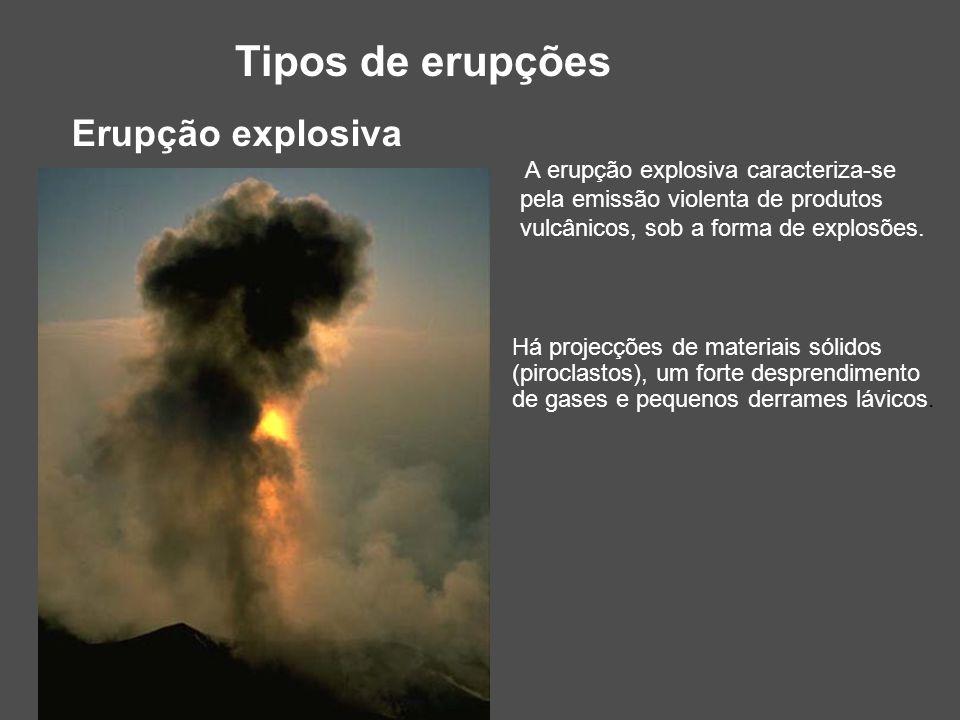 Tipos de erupções Erupção explosiva A erupção explosiva caracteriza-se pela emissão violenta de produtos vulcânicos, sob a forma de explosões. Há proj
