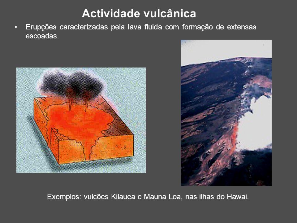 Erupções caracterizadas pela lava fluida com formação de extensas escoadas. Exemplos: vulcões Kilauea e Mauna Loa, nas ilhas do Hawai. Actividade vulc