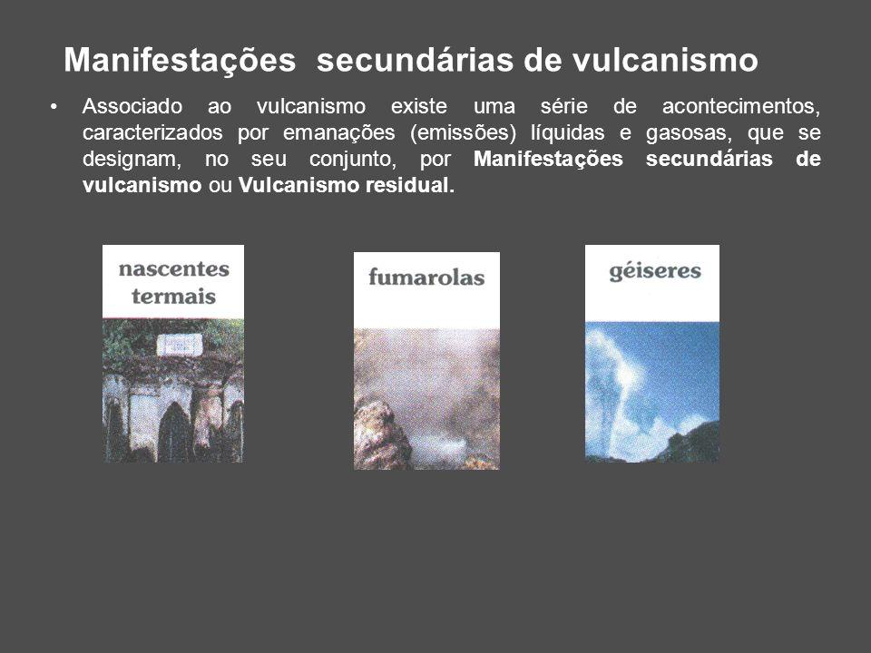 Manifestações secundárias de vulcanismo Associado ao vulcanismo existe uma série de acontecimentos, caracterizados por emanações (emissões) líquidas e