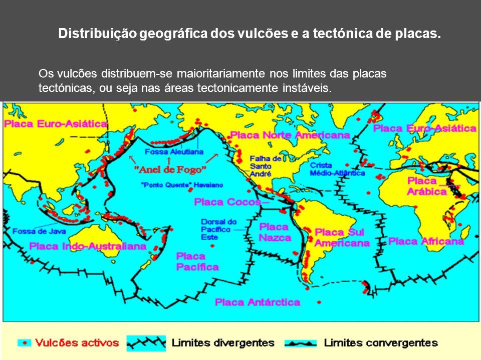 Distribuição geográfica dos vulcões e a tectónica de placas. Os vulcões distribuem-se maioritariamente nos limites das placas tectónicas, ou seja nas