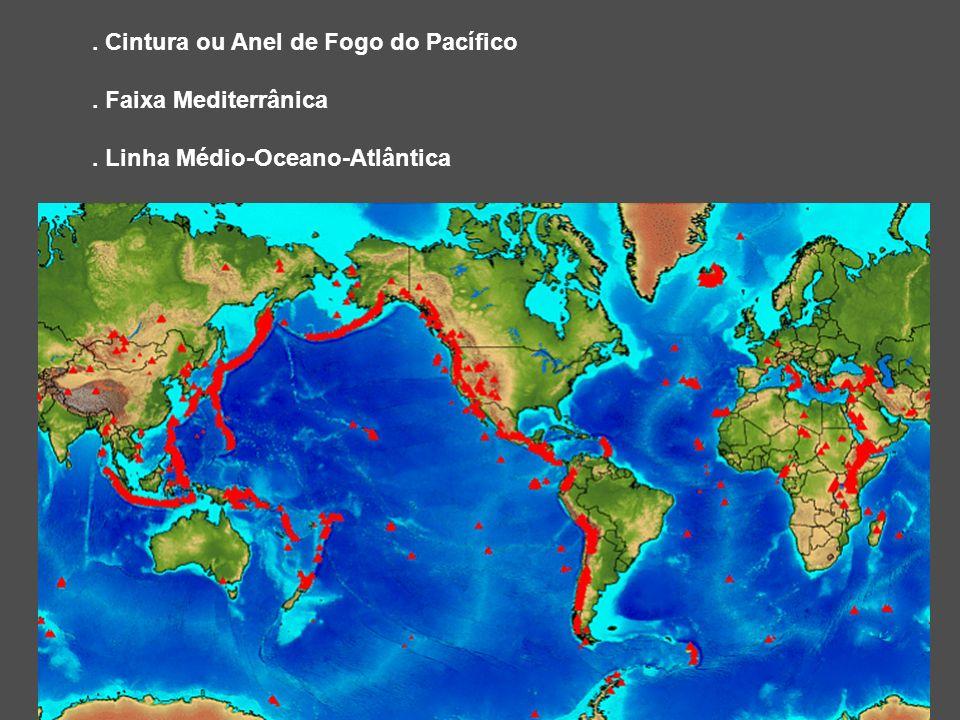 . Cintura ou Anel de Fogo do Pacífico. Faixa Mediterrânica. Linha Médio-Oceano-Atlântica