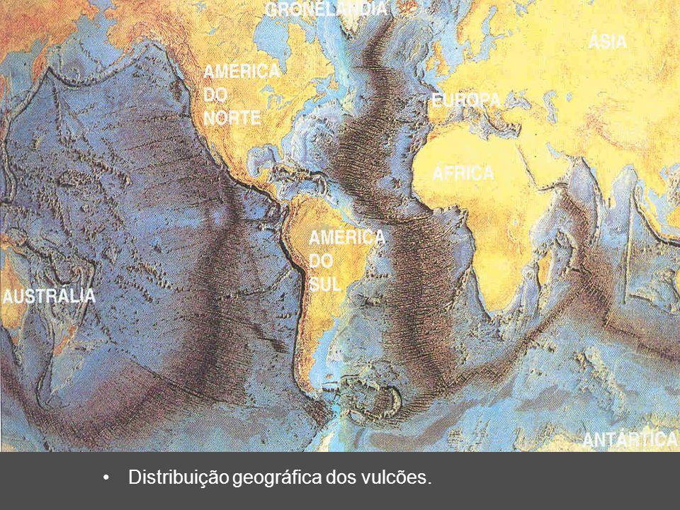 Distribuição geográfica dos vulcões.