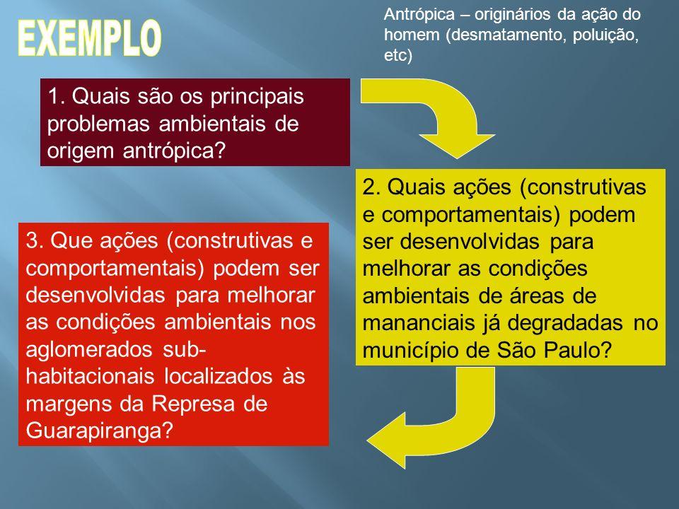 1. Quais são os principais problemas ambientais de origem antrópica? 2. Quais ações (construtivas e comportamentais) podem ser desenvolvidas para melh