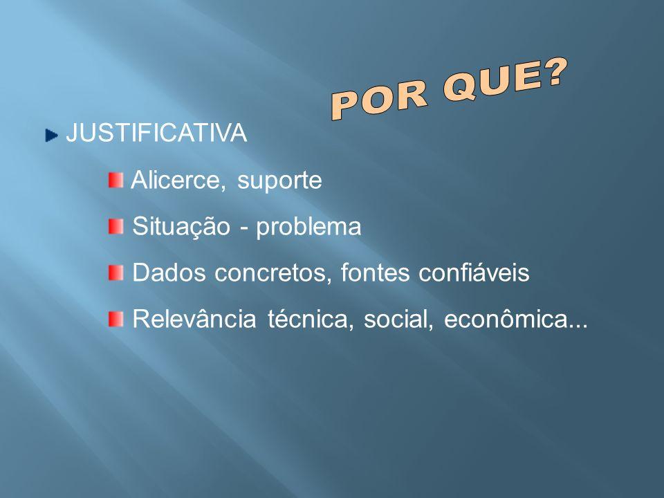 JUSTIFICATIVA Alicerce, suporte Situação - problema Dados concretos, fontes confiáveis Relevância técnica, social, econômica...