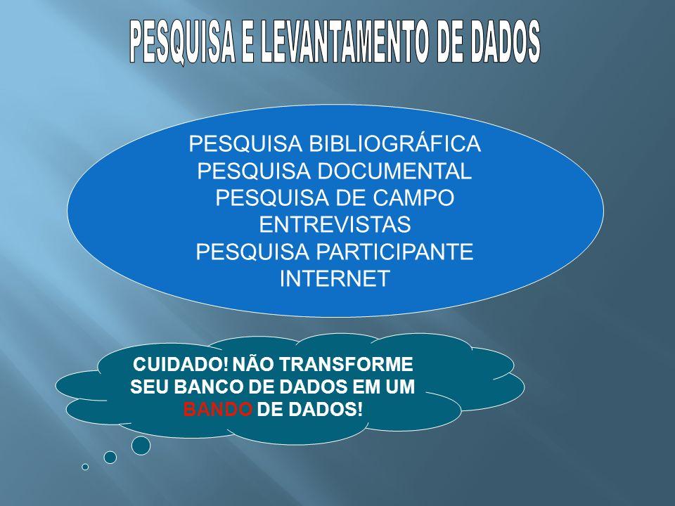 PESQUISA BIBLIOGRÁFICA PESQUISA DOCUMENTAL PESQUISA DE CAMPO ENTREVISTAS PESQUISA PARTICIPANTE INTERNET CUIDADO! NÃO TRANSFORME SEU BANCO DE DADOS EM