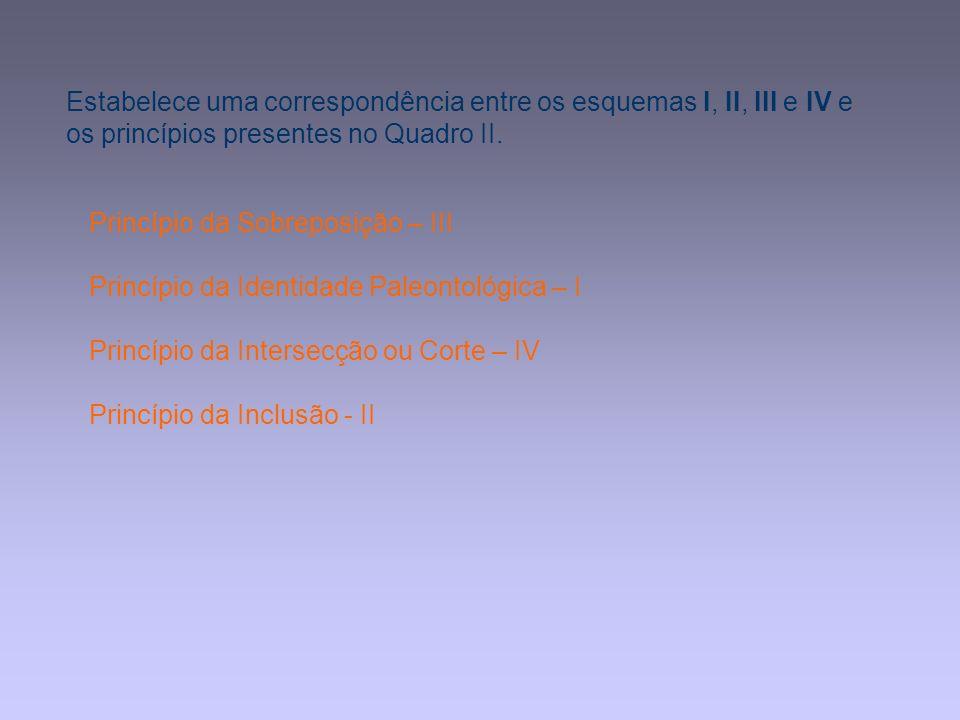 Estabelece uma correspondência entre os esquemas I, II, III e IV e os princípios presentes no Quadro II. Princípio da Sobreposição – III Princípio da