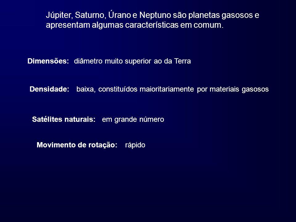 Júpiter, Saturno, Úrano e Neptuno são planetas gasosos e apresentam algumas características em comum. Dimensões:diâmetro muito superior ao da Terra De