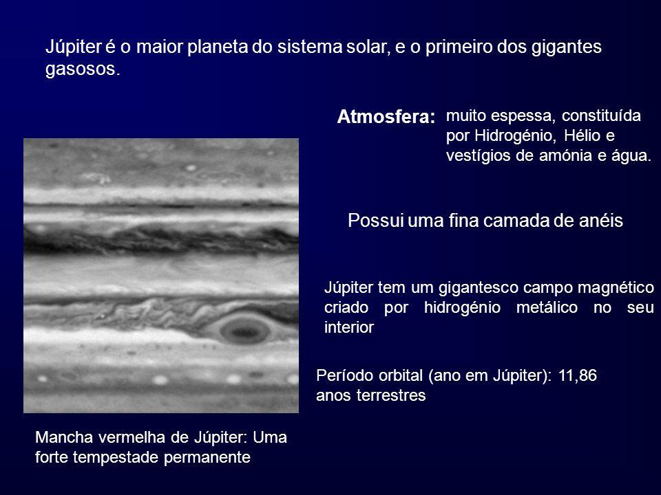 Júpiter é o maior planeta do sistema solar, e o primeiro dos gigantes gasosos. Mancha vermelha de Júpiter: Uma forte tempestade permanente Atmosfera: