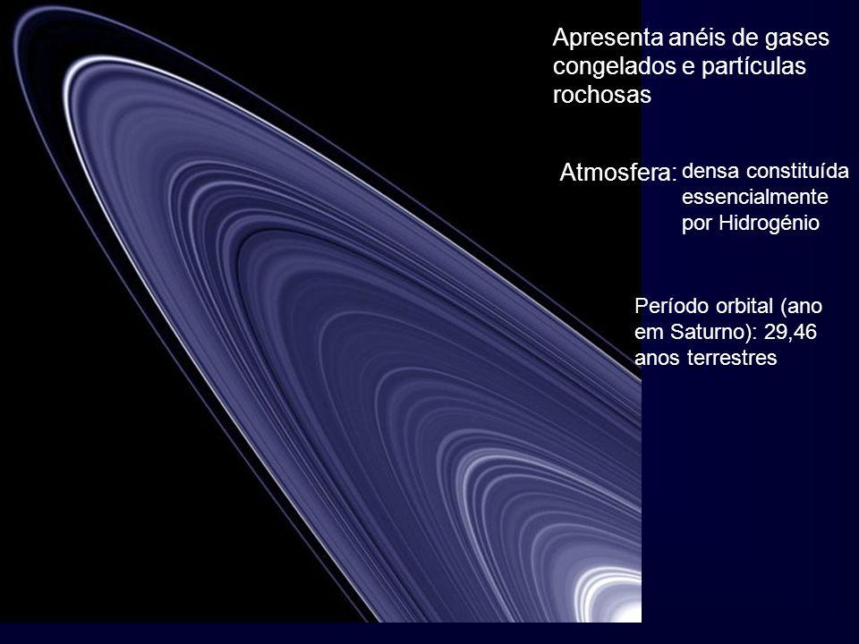 Apresenta anéis de gases congelados e partículas rochosas Atmosfera: densa constituída essencialmente por Hidrogénio Período orbital (ano em Saturno):