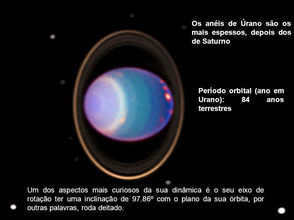 Os anéis de Úrano são os mais espessos, depois dos de Saturno Período orbital (ano em Urano): 84 anos terrestres Um dos aspectos mais curiosos da sua