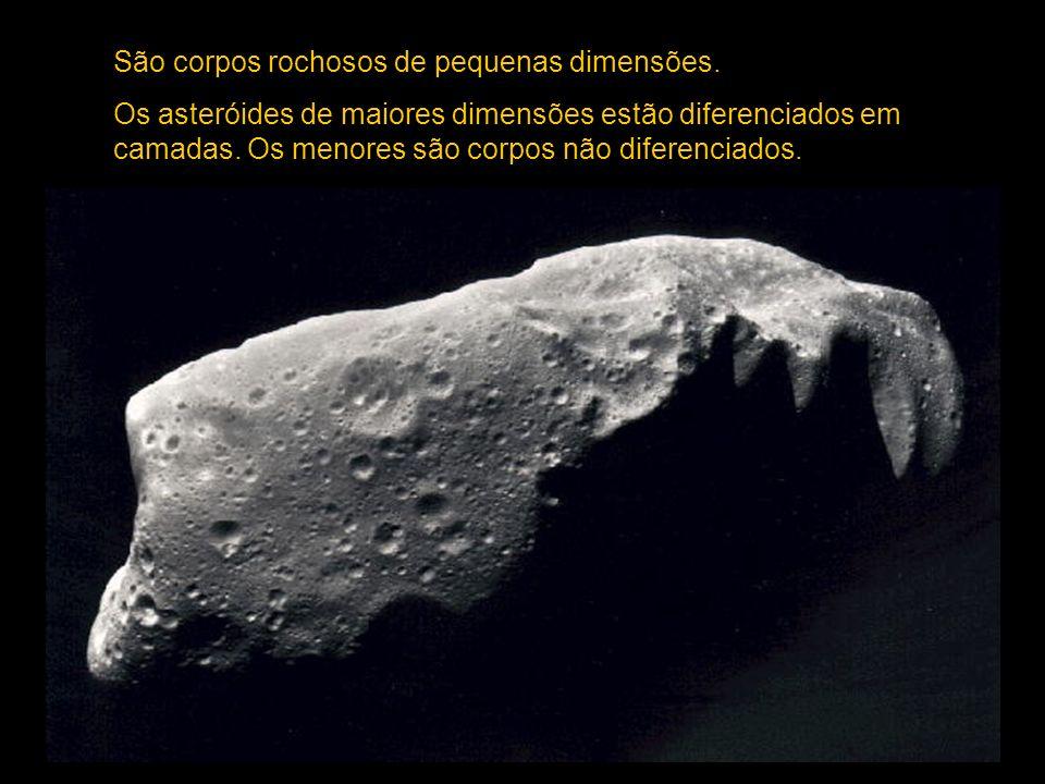 São corpos rochosos de pequenas dimensões. Os asteróides de maiores dimensões estão diferenciados em camadas. Os menores são corpos não diferenciados.