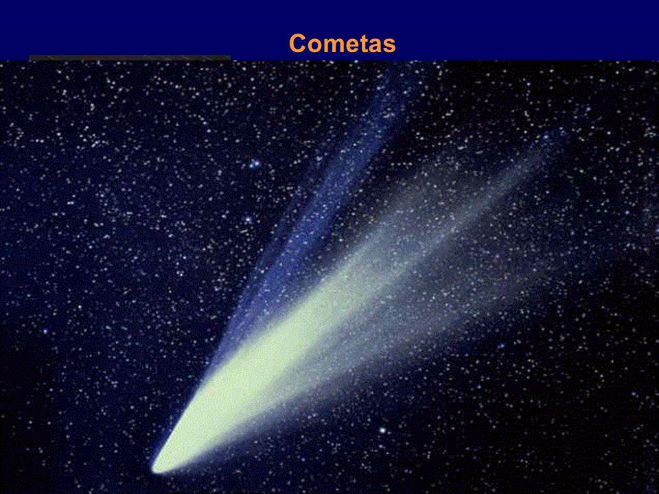 Cometas Cometa Halley O núcleo é constituído por partículas de silicatos e por uma mistura de gases congelados. (CO 2, metano, amoníaco, etc.) A cabel