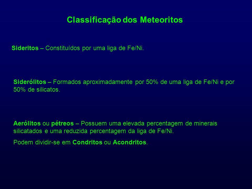 Classificação dos Meteoritos Sideritos – Constituídos por uma liga de Fe/Ni. Siderólitos – Formados aproximadamente por 50% de uma liga de Fe/Ni e por