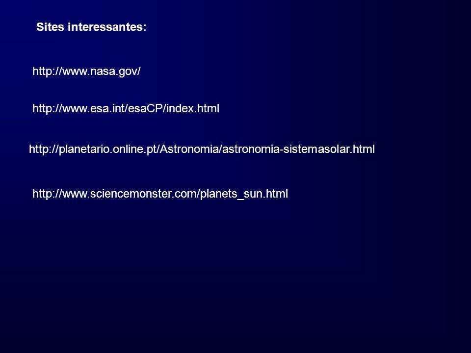 Sites interessantes: http://www.nasa.gov/ http://www.esa.int/esaCP/index.html http://planetario.online.pt/Astronomia/astronomia-sistemasolar.html http