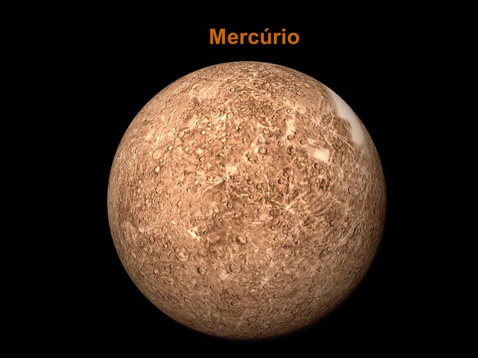 Atmosfera: praticamente inexistente Densidade:semelhante à da Terra Amplitude térmica:grande Superfície com grande número de crateras de impacto Período orbital (ano em Mercúrio): 88 dias