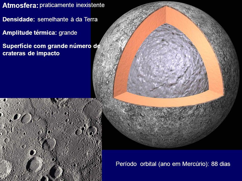 Atmosfera: praticamente inexistente Densidade:semelhante à da Terra Amplitude térmica:grande Superfície com grande número de crateras de impacto Perío