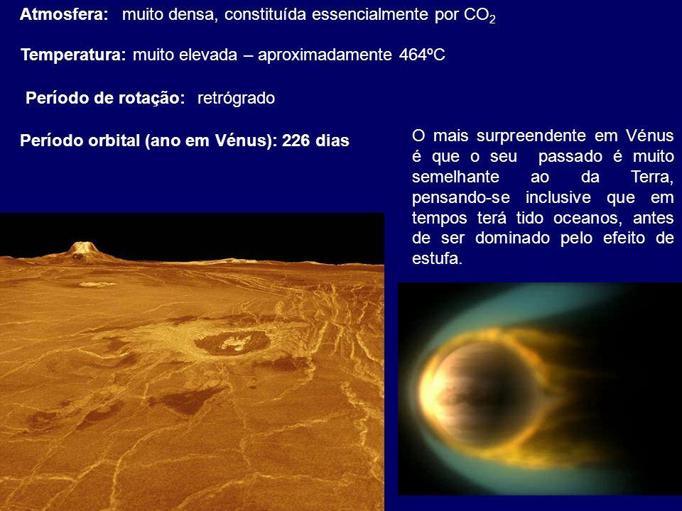 Atmosfera:muito densa, constituída essencialmente por CO 2 Temperatura:muito elevada – aproximadamente 464ºC Período de rotação:retrógrado O mais surp