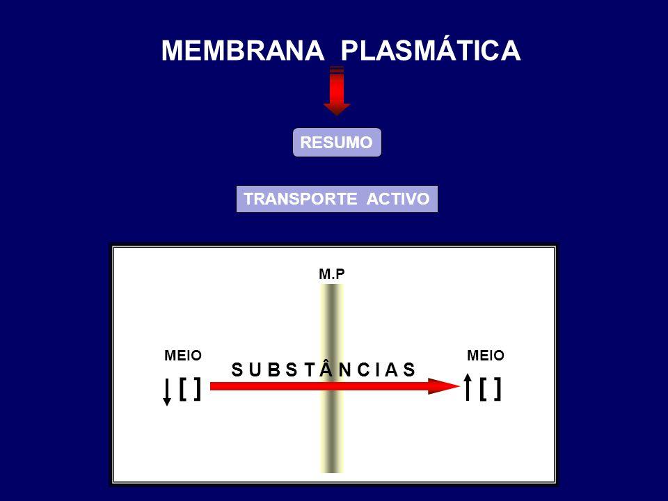 RESUMO TRANSPORTE ACTIVO M.P S U B S T Â N C I A S MEIO ] [ ] [ MEMBRANA PLASMÁTICA
