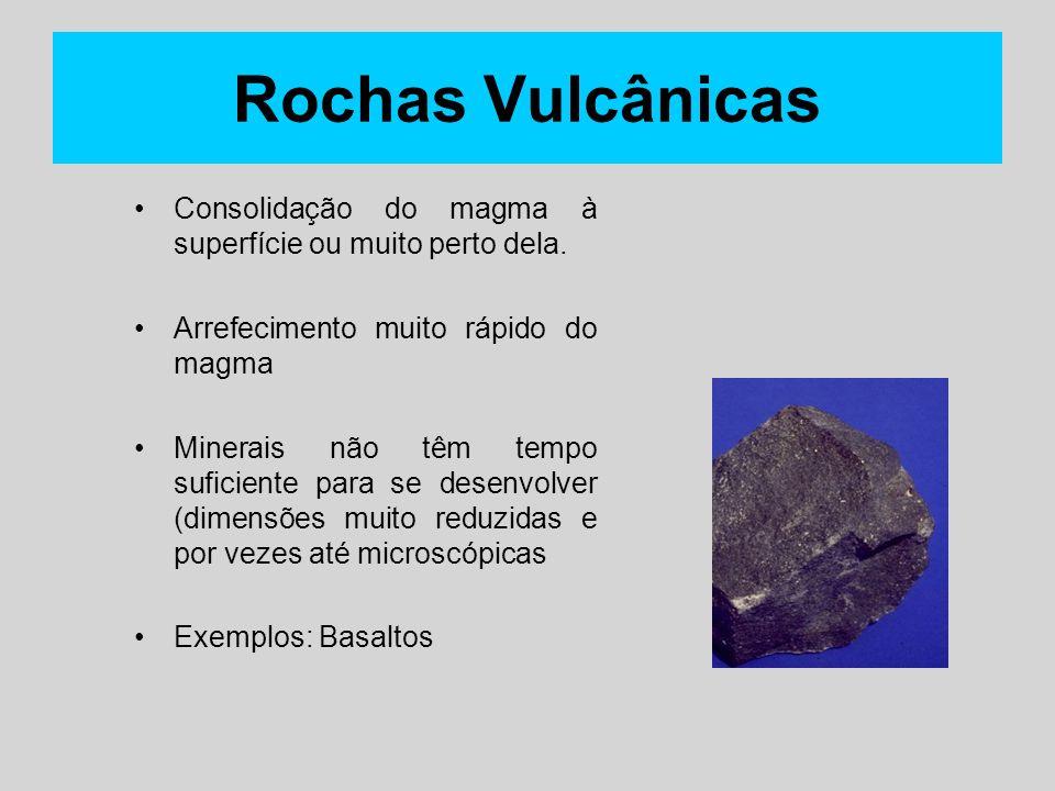 Rochas Vulcânicas Consolidação do magma à superfície ou muito perto dela. Arrefecimento muito rápido do magma Minerais não têm tempo suficiente para s
