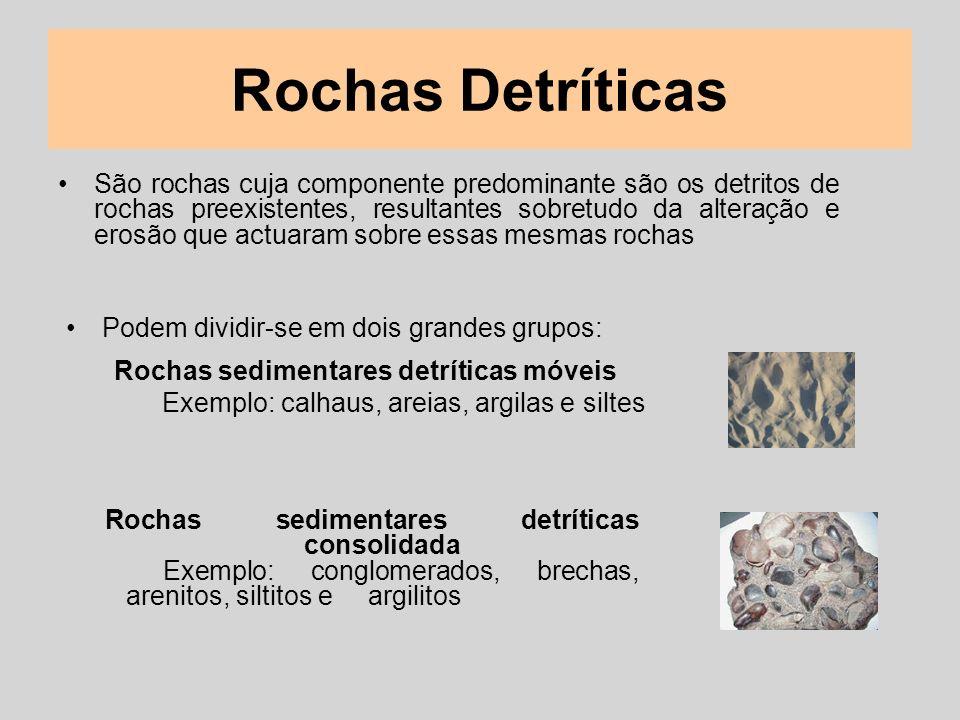 Rochas Detríticas São rochas cuja componente predominante são os detritos de rochas preexistentes, resultantes sobretudo da alteração e erosão que act